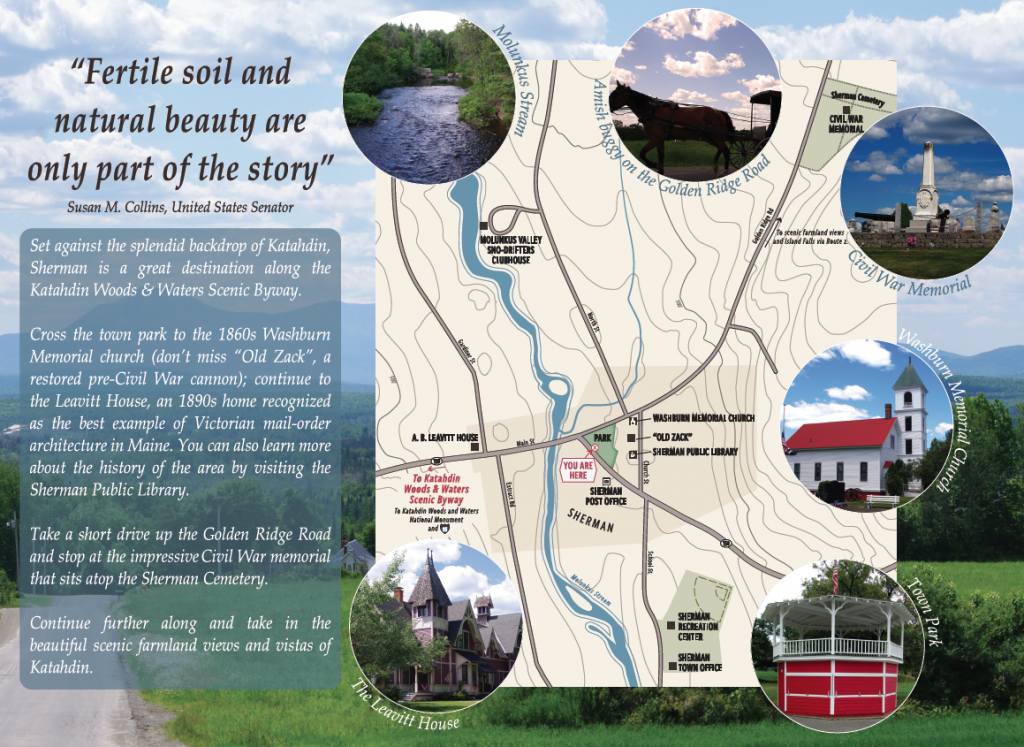 Maine-Interpretive-Panel-and-Map-Sherman-Maine