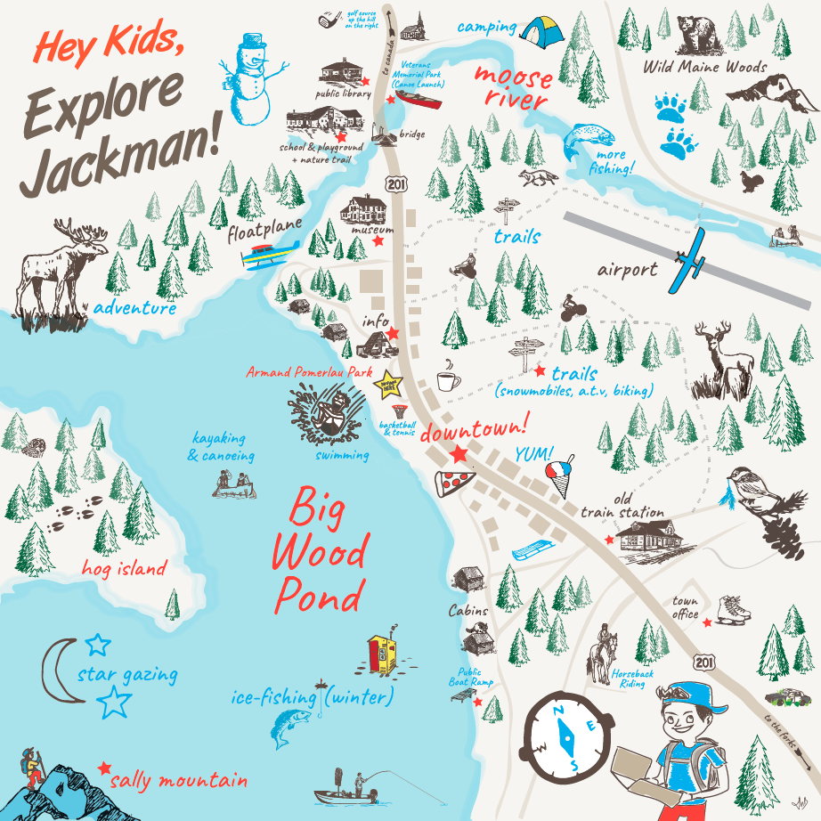 Interpretive panels for kids Explore Jackman Maine Area